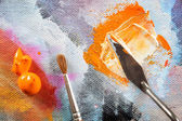 Aristic paint and putty knife — Foto Stock