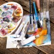 Aristic paints and brushes — Stock Photo #59276755