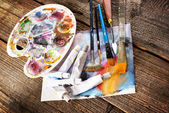 Aristic paints and brushes  — Stock Photo