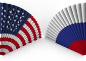 America and Russia fan folding — Stock Photo