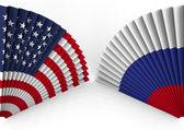 America and Russia fan folding — Stock Photo