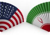 America and Iran fan folding — Stock Photo