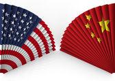 America and China fan folding — Stock Photo