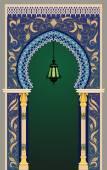 Islamic decorative arc with lantern - eps10 — Stock Vector