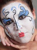 Woman with circus makeup. — Stock Photo