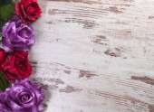Wood background with flowers — Stock Photo