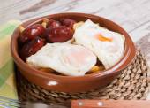 Eggs with french fries and small sausages — Foto Stock