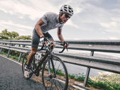 Cyclist in maximum effort — Stock Photo
