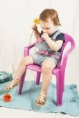 One year baby girl in studio. — Fotografia Stock