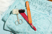 Польский, пилки для ногтей и ножницы для ногтей — Стоковое фото