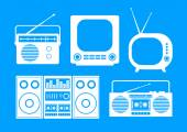 White audio and TV icons on blue background  — Stock Vector