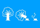 White tree icons on blue background  — Vector de stock