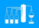 White distillation kit on blue background  — Stock Vector