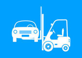 Forklift truck with car on blue background — Stock Vector