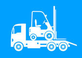 White tow truck and forklift on blue background — Stockvektor