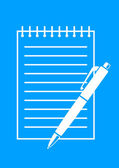 White ballpoint and notepad on blue background   — Stock Vector