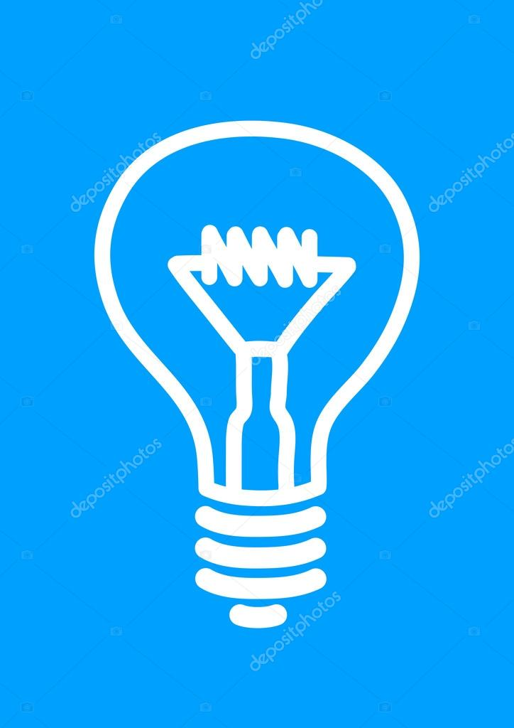 Icona lampadina luce bianca su sfondo blu ? Vettoriali Stock ...