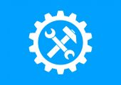 White industrial icon on blue background — Stock Vector