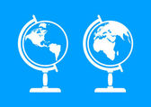 White globe icons on blue background — Stock Vector
