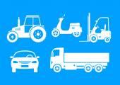 White vehicle icons on blue background — Cтоковый вектор