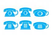 Icônes de téléphone bleu sur fond blanc — Vecteur