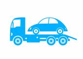 Blue tow truck and car on white background — Vettoriale Stock