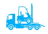 Blue tow truck and forklift on white background — Stock Vector