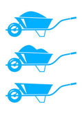 Blue wheelbarrow icons on white background — Stock Vector