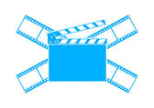 Blue cinema icon on white background — Stockvektor