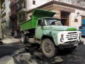 Old truck discharging tar in Havana. — Stock Photo