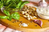 Ingredients for pesto sauce — Stock Photo