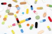 Prescription symbol Rx made of drugs — Stock Photo