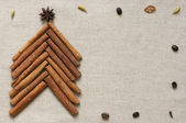 Christmas tree made of cinnamon sticks — Stock fotografie