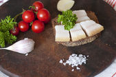 Sandwich with salted lard — Stock Photo