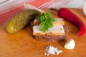 Sandwich with spiced lard — Stock Photo