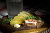 Sandwich with spiced lard — Stock Photo