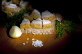 Sandwich with salted lard close up — Stock Photo