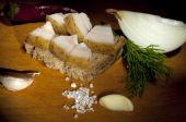 Sandwich with salted lard, light brush — Stock Photo