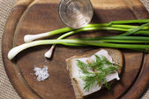 Sandwich with salted lard on rye bread and vodka — Stock Photo
