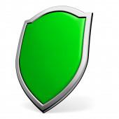 Green shield on white — Stock Photo