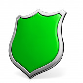 Green shield on white — Stock Photo