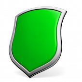 Green shield on white — Photo