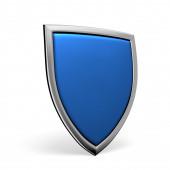 Blue shield on white — Stock Photo