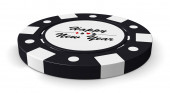 Happy New Year black casino chip — Stockfoto