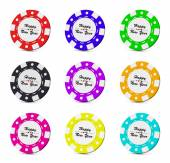 Happy New Year casino chips collection — Stock Photo