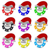 Merry Christmas gamble casino chips in red hat collection — Stock Photo