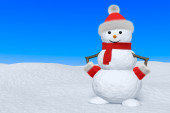 Snowman with scarf on snow under blue sky — Stock Photo
