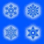 Snow mark of snowflakes on blue set — Stock Photo #60281783