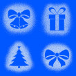Snow mark of christmas objects on blue set — Stock Photo #60282203