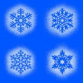 Snow mark of snowflakes on blue set — Stock Photo